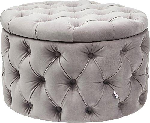 Kare Desire Silbergrau, Kleine, Sitztruhe im Barock-Stil, Runde Sitzbank mit Öffnung, (H/B/T) 46 x...