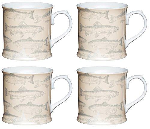 KitchenCraft Porzellan Fisch bierkrugförmig Kaffeebecher, Multi/Farbe (Set von 4), China Tankard