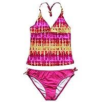 iEFiEL Girls 2 Pieces Tie Dye Halter Swimwear Tankini Sets Swimming Costume Pink 8 Years