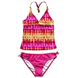 YiZYiF Kinder Mädchen Tankini mit Panty Short Neckholder Badeanzug Mambo Tie-Dye Bikini Set 128 140 152 164 176 (Rosa, 146-152 (Herstellergröße: 12A))
