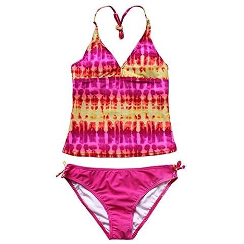 iEFiEL 2 pièces Maillot de bain Enfant Fille Tie-Dye Tankini Bikini Halter Motifs 8-16 Ans Rose 16 ans