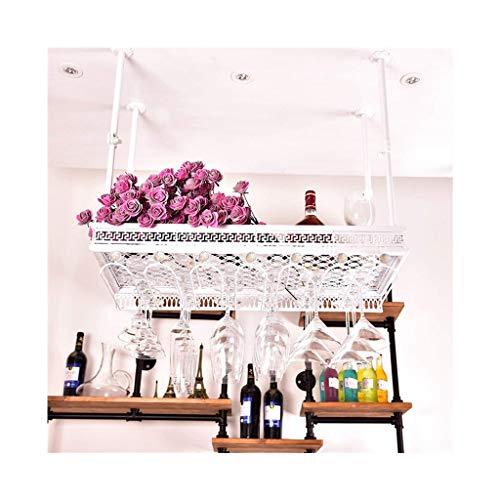 Etagère à bouteille Double Tiers Bars Suspendu Porte-bouteilles de vin avec Strass, KTV Creative Tasses de Plafond/Verre à Vin/Gobelet Titulaire Stand Rack Métal En Acier De Stockage Shlef