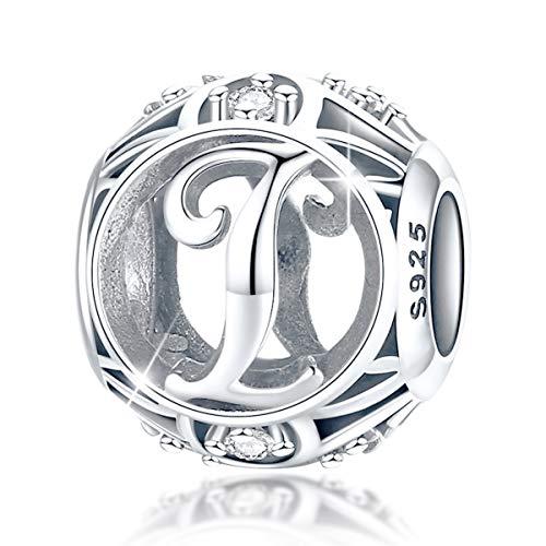 et Buchstabe I Charm Bead mit klaren Zirkonia kompatibel für europäische Armbänder 925 Silber Sterling Charm Anhänger,BJ09121-I MEHRWEG ()