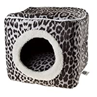 Cat Pet Bed Cave- Indoor Enclosed Covered Cavern/House for Cats Kittens and Small Pets with Removable Cushion Pad by PETMAKER, Gray/Black Animal Print