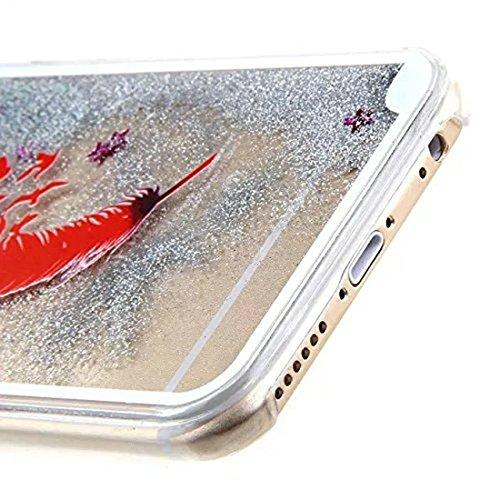iPhone 6Plus/6S Plus 14cm liquide brillant paillettes Bling cas, newstars Design Double Couche dynamique Fluide flottant Quicksand Coque pour iPhone 6Plus/6S Plus, 3D Design Créatif en plastique tr U Red Feather