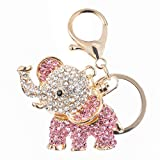 #8: Jewel and You metallic baby elephant pink crystals key ring