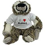 Bradypus de peluche con Amo Manal en la camiseta (nombre de pila/apellido/apodo)