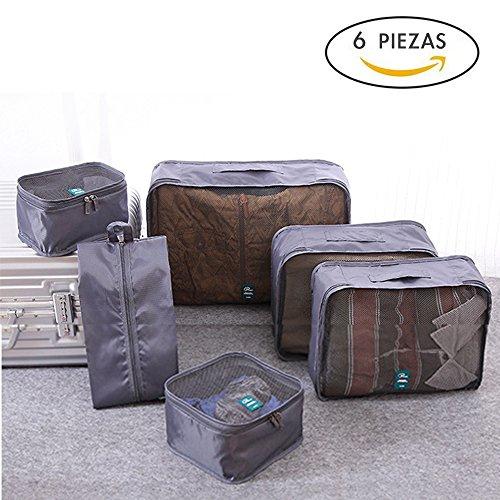 CLOUDSTOO -Organizadores de equipaje de viaje,set 6 Organizador de Maletas Impermeables con 5 Cubos de embalaje+1 bolsa para zapatos,adecuado para maletas de 26-28 Pulgadas - Gris carbón