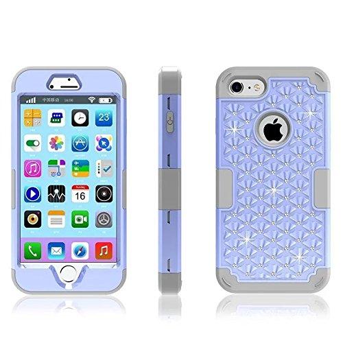 """iPhone 7 Coque,Lantier 3 en 1 Elégant clouté strass cristal Bling double couche hybride [Anti Scratch][antichoc] robuste Housse de protection pour Apple iPhone 7 4.7"""" Mint Green+Gris Light Blue+Grey"""