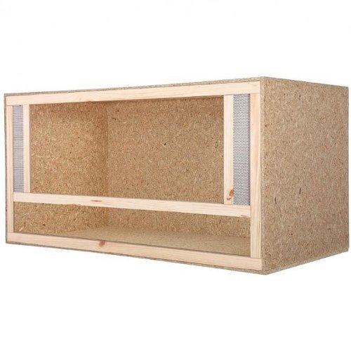 Terrarium: Holzterrarium für Reptilien Seitenbelüftung 100x60x60cm, hochwertiges Terrarium aus OSB Holz, leichte Montage