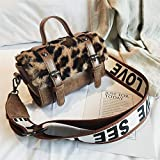 XIBAOBAO Frauen Shoulder Bag Fashion Vintage Leopardenmuster Messenger Bag Damen Freizeit Boston Crossbody Braun