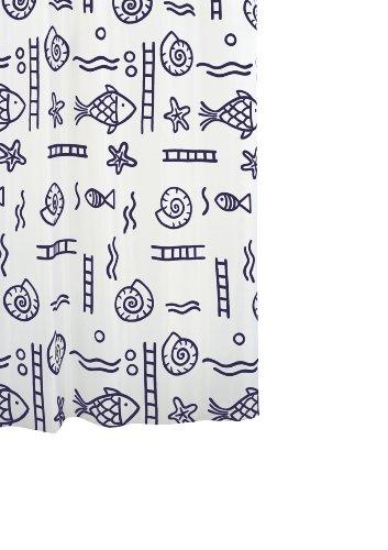 Mit Duschvorhang Klare Fisch (Ridder 46113-350 Duschvorhang Textil ca. 120 x 200 cm, Neptun blau inklusive Ringe)