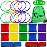 Vykor Bean Bag Games Ring Toss Game Set Legged Race Bands Bean Bags for Children Throwing Game Sports Party Games Set for Indoor Outdoor Games Kids Party Family Garden Game Sports Day Games Supplies