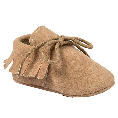 BZLine® Baby-Krippe Quasten weiche Sohle Schuhe Sneaker Schuhe Khaki