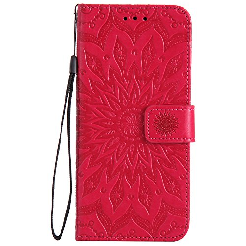 Mokyo Folio PU Ledertasche für Samsung Galaxy S8 Plus [Frei Stylus Stift],Weich Ultra Dünn Brieftasche Hülle Geprägt Mandala Sonnenblume Blumen Muster mit [Kartenfächer][Standfunktion][Magnetverschluss] Leder Buchstil Schützend Schutzhülle Passt perfekt für Samsung Galaxy S8 Plus - Rot
