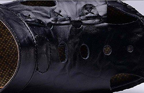 Pompa Uomini Punto chiuso All'aperto Sport sandali Pantofole Cavo Pelle Doppio uso Antiscivolo Sole morbido Sandali da spiaggia Scarpe casual sneaker Dimensioni Eu 38-44 blue