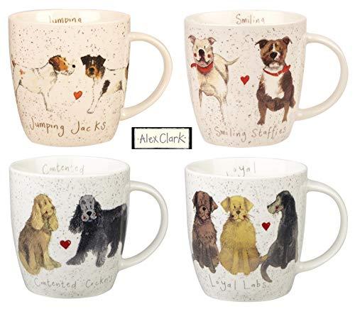 Alex Clark Lot de 4 mugs Motif chien Jack Russell Labrador Staffie Cocker Spaniel 35 cl