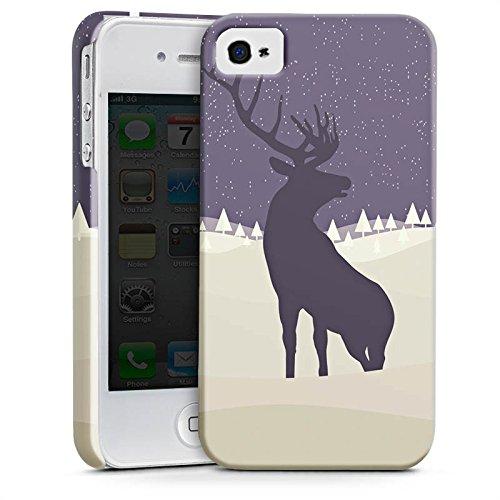 Apple iPhone X Silikon Hülle Case Schutzhülle Hirsch Schnee Winter Premium Case glänzend