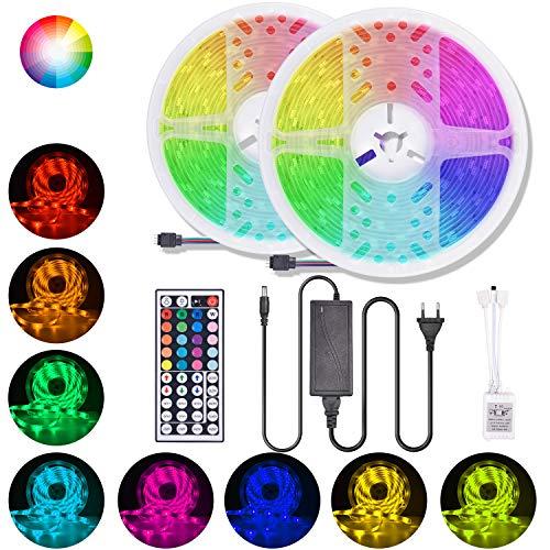 Striscia LED RGB 5050,Strisce LED colorata con Telecomando a 44 tasti e Alimentatore, 12V 5A, 300 LED, Luci Decorative a LED per Natale, Halloween, Nozze e Fest