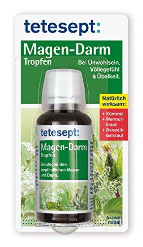 tetesept Magen-Darm Tropfen - natürlich wirksam - Pflanzliches Arzneimittel zur Anwendung bei Unwohlsein, Völlegefühl & Übelkeit - beruhigt den Magen-Darm-Trakt - 1 x 50 ml -