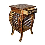 #8: Shilpi Wooden Hand Carved Side Table, Stool Antique Look