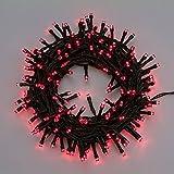 Guirnalda 5 m, 100 LED rojo, cableado verde, juego de luces, luces árbol de Navidad, adornos luminosos, guirnalda de luces