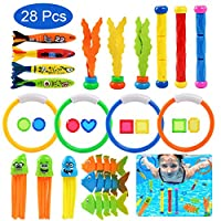 BelleStyle Swimming Pool Toys, 28Pcs Underwater Diving Pool Toys Set Diving Rings Diving Toypedo Diving Sticks Seaweed Under Water Treasures Gift for Kids with Carrying Bag