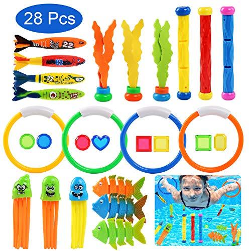 BelleStyle Tauchen Spielzeug Unterwasser Kinder Spielzeug Pool Spielzeug Set Schwimmspielzeug Tauchstock, Tauchring ,Toypedo, Sinkende Fische Tauchschmuck für Kinder 28 Stück