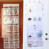 Hängeaufbewahrung für Speisekammer, vielseitig einsetzbar, mit 15 transparenten Taschen, 3 Haken, PVC, für Jar Snacks und Kleinteile, 132 x 46 cm, Schwarz/Rot