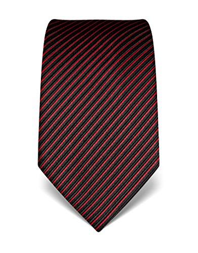 Vincenzo Boretti Herren Krawatte reine Seide gestreift edel Männer-Design gebunden zum Hemd mit Anzug für Business Hochzeit 8 cm schmal/breit schwarz