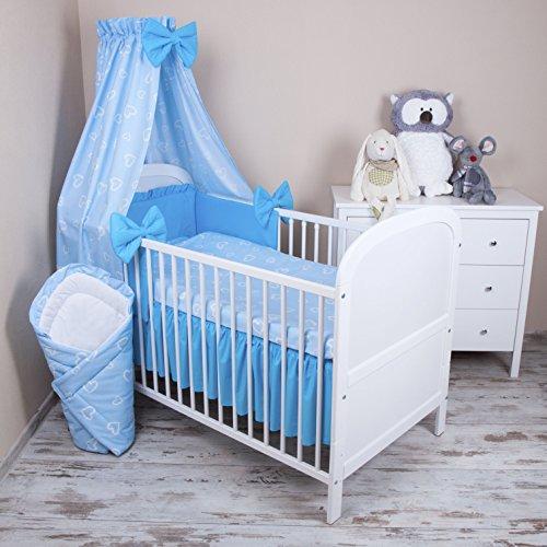 Amilian Baby Bettwäsche 5tlg Bettset mit Nestchen Kinderbettwäsche Himmel 100x135cm NEU Herzen...