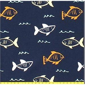 Stoffe zum Nähen Haie maritim, Jerseystoffe Kinder, Jersey neutral, Jungenstoffe, maritim, Fische Jersey blau