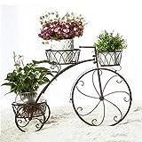 Fioriera vintage a tre piani, biciclette creative, soggiorno, balcone, camera da letto, pavimento in ferro battuto, fioriera (colore : Brown)