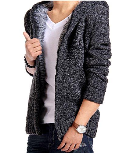 MILEEO Men's Hooded Jacket Hoodie Fleece Lined Outerwear Jacket Cotton Coat Wind Coat Wool Jacket Oberkleidung Softshell Jacket, 13 Colours, 4 Sizes Dunkel Grau 3