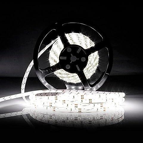 LEDMO Ruban LED,DC12V SMD 2835 Ruban LED,IP65 étanche 6000K Blanc Froid Lumière Bande LED,300LEDs,Pack avec Bande LED 5M(Pas d'alimentation 12V 5A) - 1 Segno In Bianco