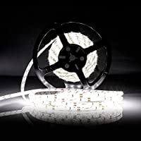 LEDMO Striscia LED,striscia di led bianco 6000K, SMD2835-300led IP65 impermeabile 5 metri DC12V 15LM/LED di altezza CRI80 Striscia Luce a Led per decorazione di armadio da cucina, camera da letto.