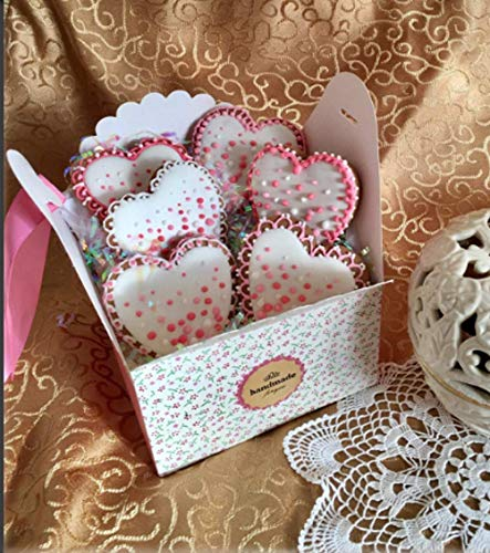 Chilly Gift Boxes, Set of 12 Decorative Treats Boxes, Cake, Cookies, Goodies, Candy Handmade Baby Bath Bombs Shower Soaps Gift Boxes Christmas, Birthdays, Holidays, Weddings (Flower Patterned)