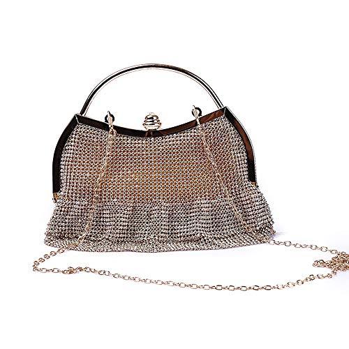 Xihouxian Made Fine Damen Clutch Bag Kristall Strass Quaste Handtasche Hochzeit Bankett Tasche Mobile Wallet Abendtasche Schwarz/Gold/Silber U20 (Farbe : Gold)