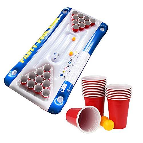 Monsterzeug Beer Pong Luftmatratze für den Pool, Schwimmender Bierpong Tisch, Beerpong Tisch zum Aufblasen, Pool-Zubehör -