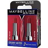 Maybelline Creamy Matte Lipstick, Matte Finish, (Pack of 2) - Rich Ruby & Divine Wine