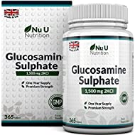 Glucosamine Sulphate 1500 mg 2KCl, 365 Tablets (1 Year Supply) | High Strength Glucosamine Tablets 1500mg | Made in The UK by Nu U Nutrition