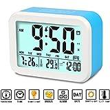 Reloj Digital Aiduy,Reloj despertador con fecha y indicador de temperatura, alarma de sensor táctil y de luz, para niños y adolescentes (Azul)