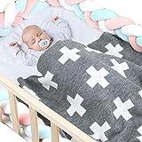Coperta per neonato coperta in maglia Swaddle Ricezione coperta Ragazzine, trapunta per auto, passeggino, copriletto, copriletto, tappetino da spiaggia, copertina per allattamento, regali doccia, 95 *