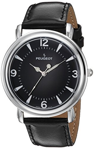 Peugeot argento Slim Dome custodia vintage in pelle nera Band Dress orologio 2060BK
