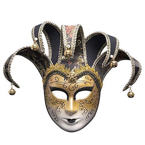 YCWY Vollgesichts Venezianische Maske, Halloween Cosplay Maske Karneval Kostüm Maskerade Maske Joker Maskerade Theater Maske F,Black
