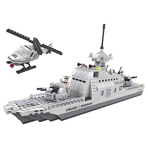 Ausini - Juego de construcción Buque guerra & helicóptero - 402 piezas (ColorBaby 42854)
