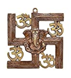 #2: Shopnetix Wall Hanging Of Lord Ganesha on Swastik with Om Showpiece
