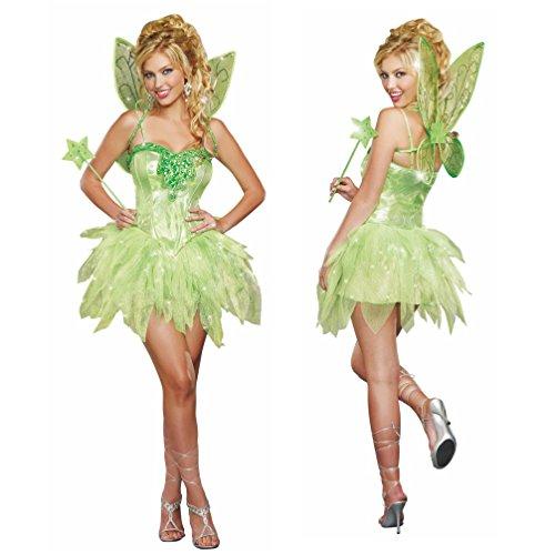 Unbekannt Kostüm grüne Fee Gr. S Damen Kleid Märchen Feenkostüm Elfe Fasching