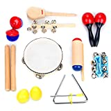 Boxiki Kids Musical Instruments, Percussion Toy and Rhythm Band 10 Piece Set