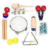 Juego de Instrumentos Musicales de 16 Piezas | Clave Sticks, Triángulo, Tambor, Cascabeles &...